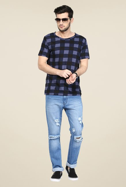 Yepme Navy Checks T Shirt