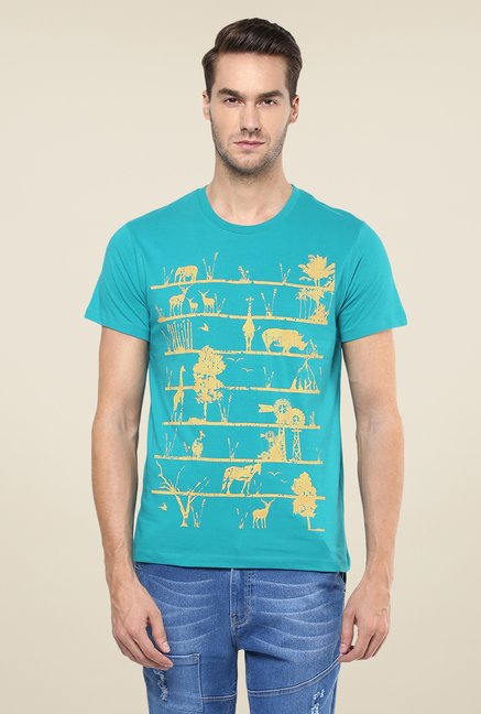 Yepme Blue Eco Ladder Printed T Shirt