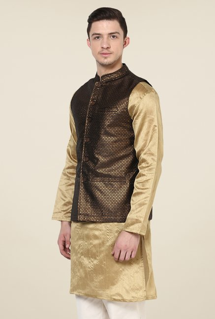 Yepme Brown & Gold Jack Printed Nehru Jacket