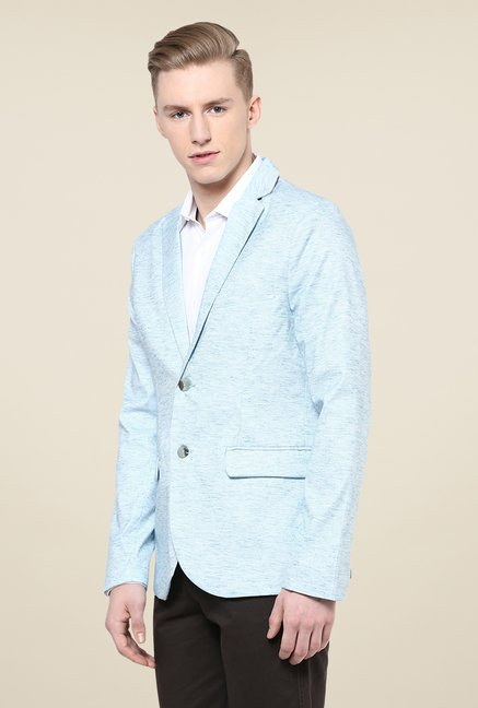 Yepme Light Blue Kerron Textured Blazer