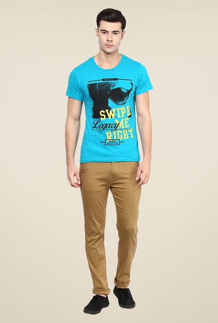Yepme Legacy Blue Graphic Print T Shirt