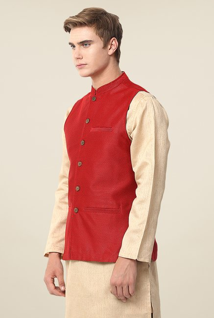 Yepme Red Jack Self Print Nehru Jacket