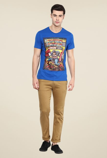 Yepme Marvel Captain America Cover Art Blue Printed T Shirt