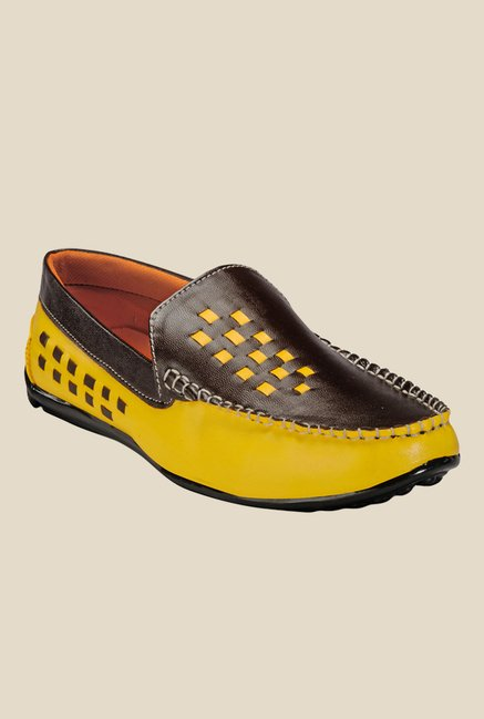 Yepme Dark Brown & Yellow Loafers