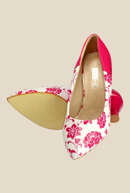 Yepme Pink & White Wedge Heeled Pumps
