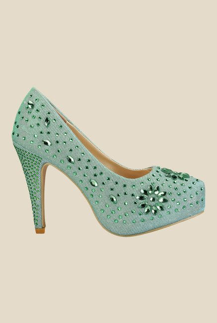 Yepme Green Stiletto Heeled Pumps