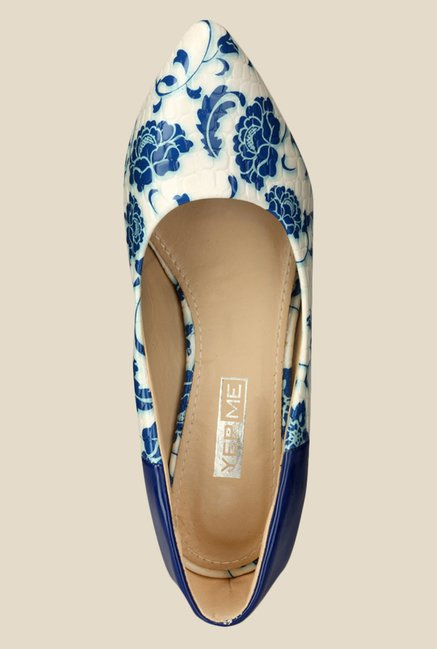 Yepme Blue & White Wedge Heeled Pumps