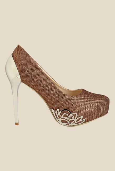 Yepme Copper Stiletto Heeled Pumps