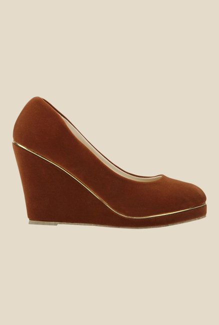 Yepme Brown Wedge Heeled Pumps