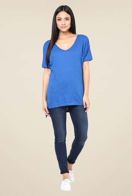 Yepme Blue Tiffany Asymmetrical Top