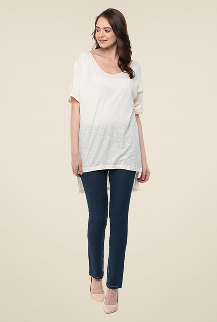 Yepme Off White Tiffany Asymmetrical Top