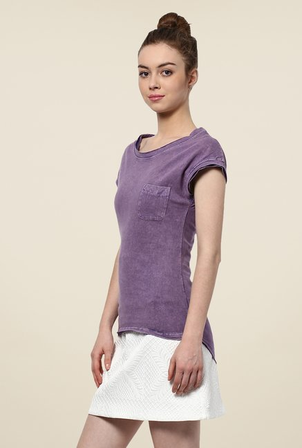 Yepme Purple Clarisa Acid Wash Premium Top