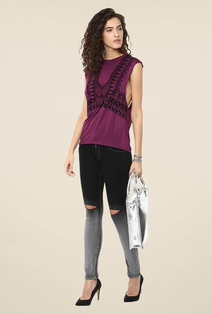 Yepme Purple Amelia Printed Party Top