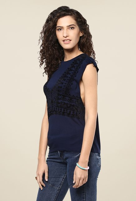 Yepme Navy Amelia Printed Party Top