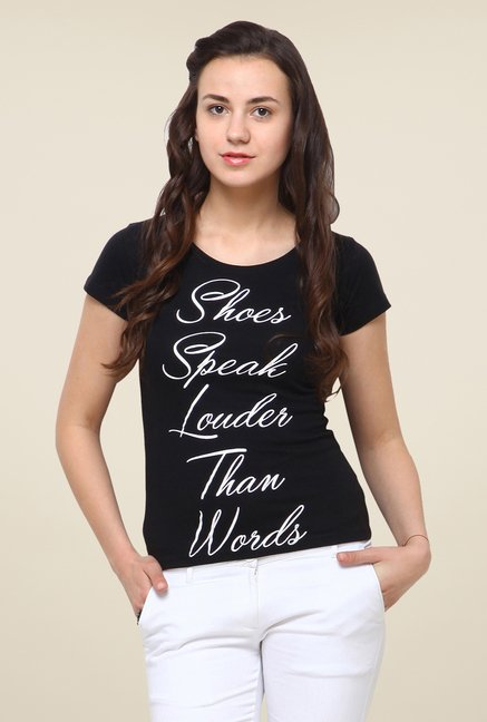 Yepme Shoes Speaks Black T Shirt