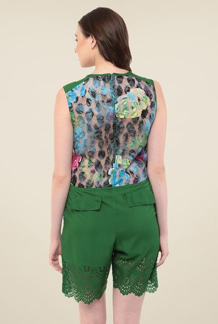Yepme Green Megan Floral Jumpsuit