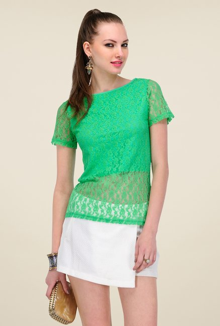 Yepme Green Sherlene Lace Top