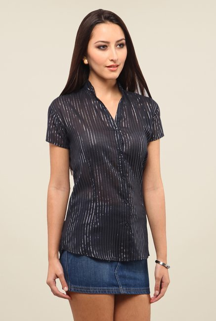 Yepme Black Ellen Lurex Striped Top