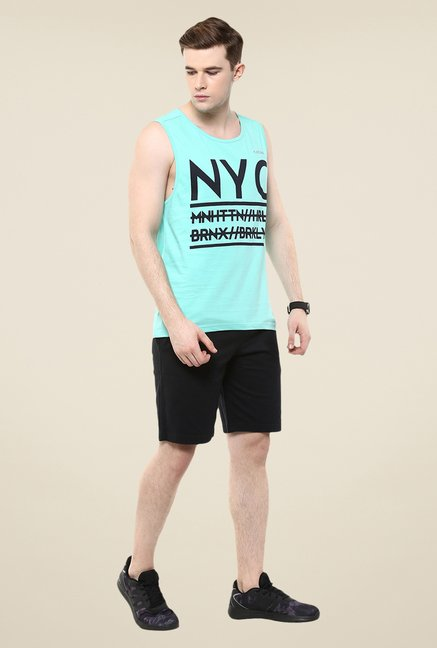 Yepme Leo High Performance Muscle Aqua Graphic Print T-shirt