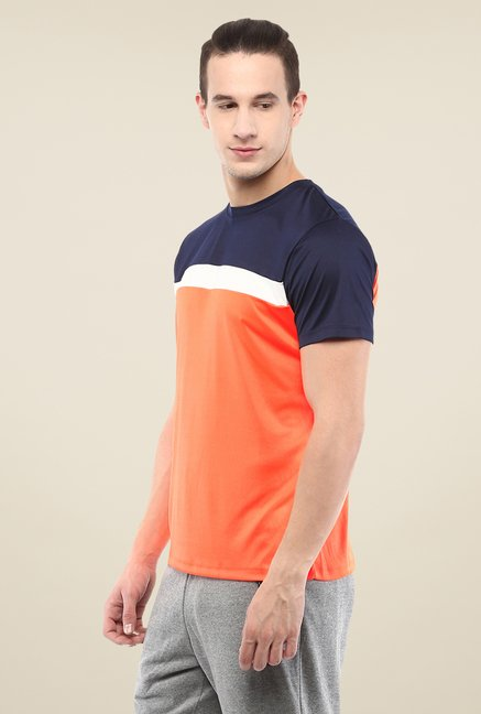 Yepme Orange & Blue Cyril High Performance Active T-shirt