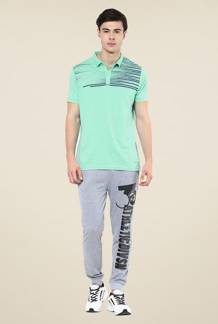 Yepme Green Bruno High Performance Printed Polo T-shirt