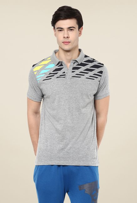 Yepme Bret High Performance Grey Graphic Print Polo T-shirt