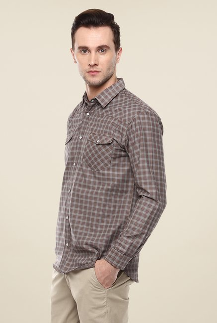Yepme Brown Convey Checks Shirt