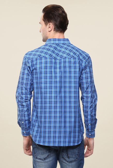 Yepme Blue Convey Checks Shirt