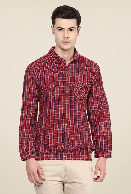 Yepme Red Francis Slim Fit Shirt