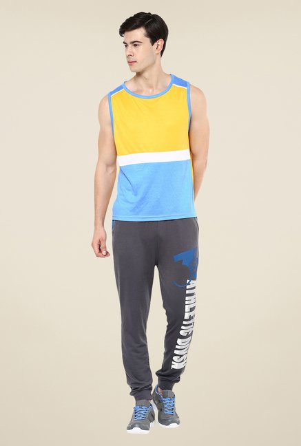 Yepme Yellow & Blue Kody Muscle T-shirt