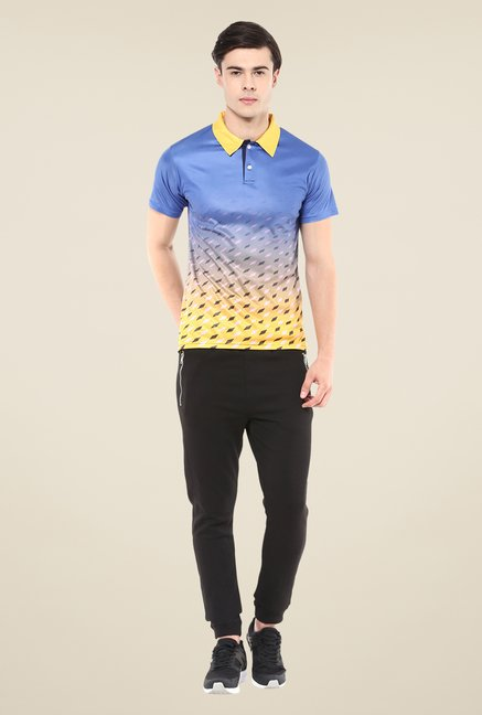 Yepme Blue Issac Graded Grids Printed Polo T-shirt