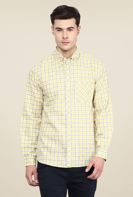 Yepme Yellow Henry Linen Check Shirt