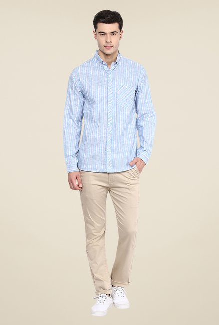 Yepme Light Blue Henry Linen Striped Shirt