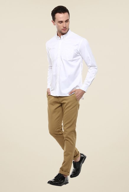 Yepme White Marcus Solid Shirt