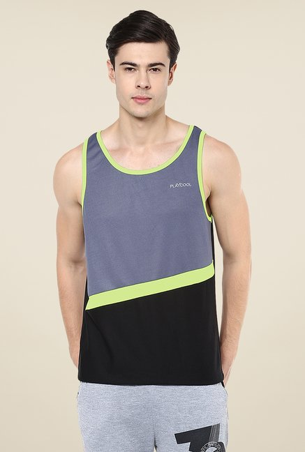 Yepme Grey & Black Baron Muscle Vest