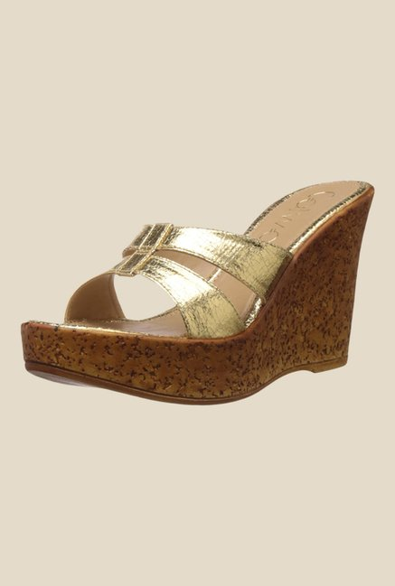 Catwalk Golden Wedge Heeled Sandals