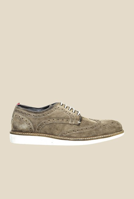 Hx London Piccaddily Khaki Brogue Shoes