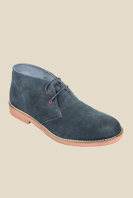 Hx London Stockwell Navy Chukka Shoes
