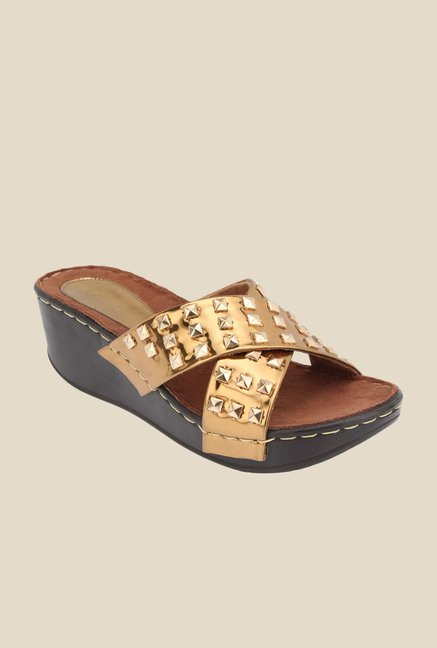 Catwalk Golden Cross Strap Sandals