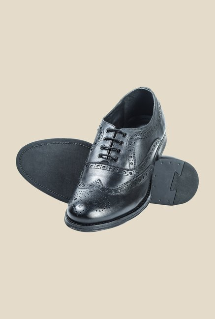 Hx London Kingsburry Black Brogue Shoes