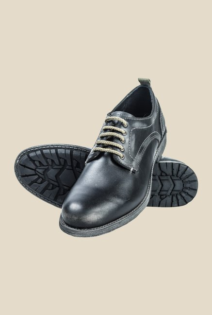 Hx London Wimbledon Black Derby Shoes