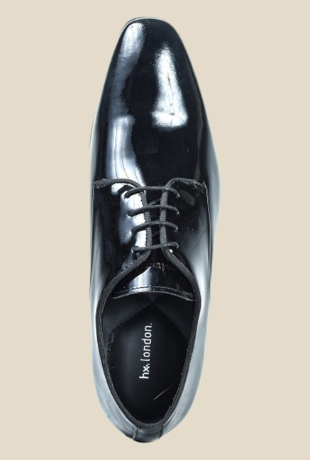 Hx London Woodlane Patent Black Derby Shoes