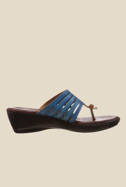 Catwalk Blue & Tan Wedge Heeled Thong Sandals