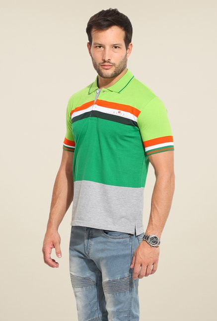 Duke Stardust Green Striped T Shirt
