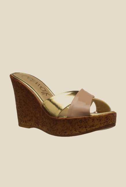 Catwalk Beige & Golden Wedge Heeled Sandals