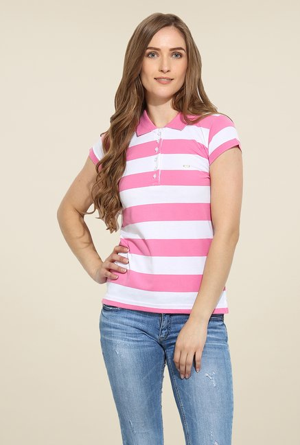 Duke Stardust Pink & White Striped T Shirt