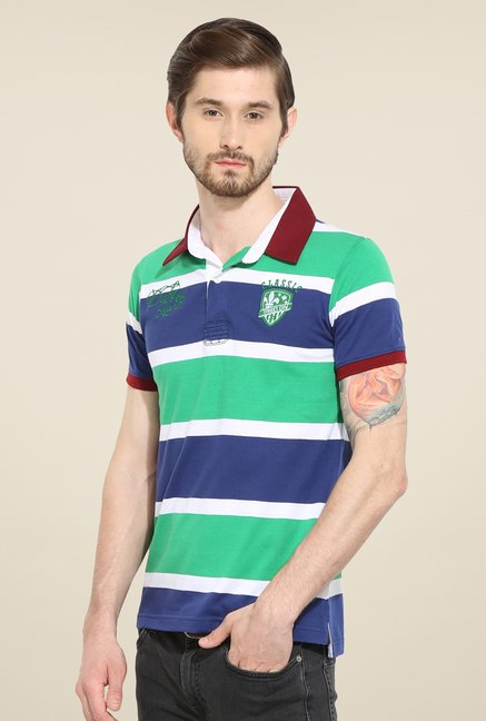 Duke Stardust Green & Blue Striped T Shirt