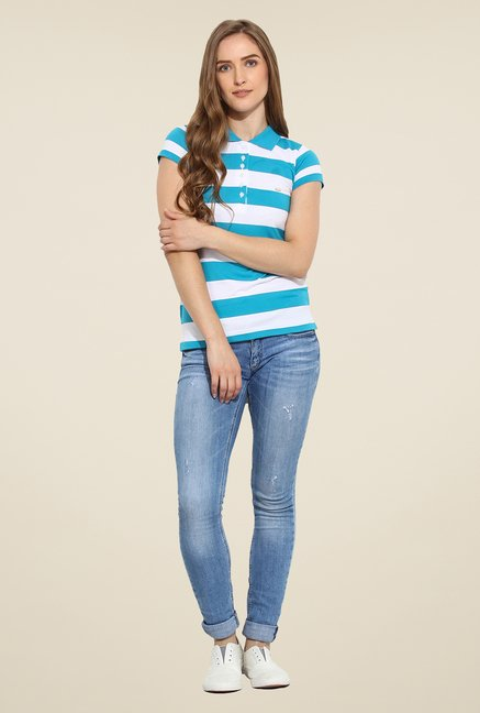 Duke Stardust Blue & White Striped T Shirt