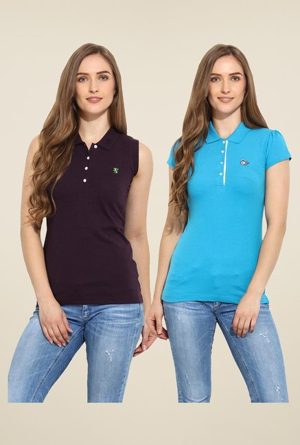 Duke Stardust Purple & Blue Solid T Shirt (Pack of 2)