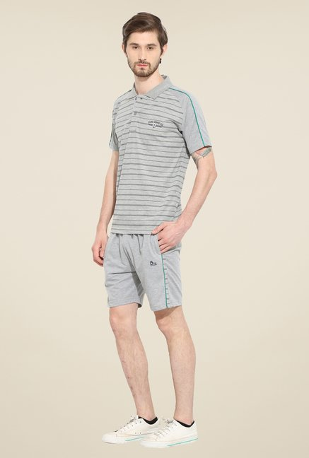 Duke Stardust Grey Striped Bermuda Set